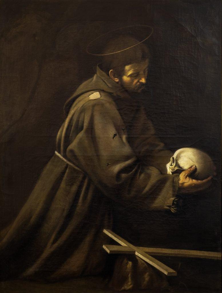 San Francesco in meditazione_da Michelangelo Merisi (Caravaggio)_130x100